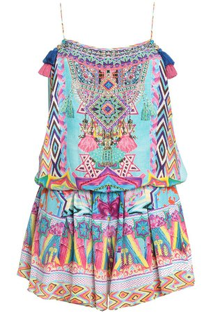Multicolor Masking Madness embellished printed silk playsuit   Sale up to 70% off   THE OUTNET   CAMILLA   THE OUTNET