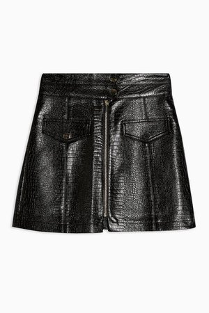 Black Crocodile Zip Through PU Skirt | Topshop