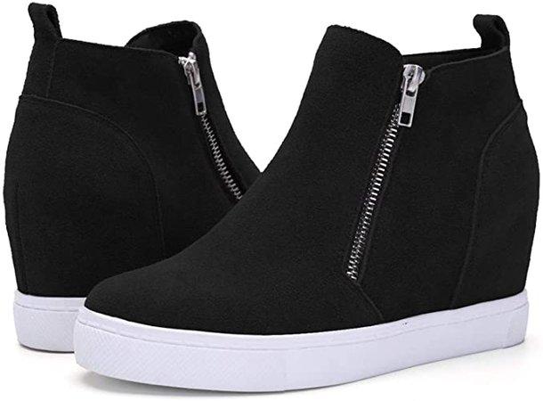 Amazon.com   Chenghe Women's Hidden Wedge Fur Sneakers Casual Side Zipper High Top Wedge Snow Boots Size 9 Black   Boots