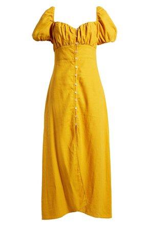 Women's Puff Sleeve Button Midi Dress | Nordstrom