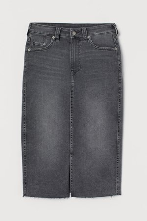 Denim Pencil Skirt - Gray