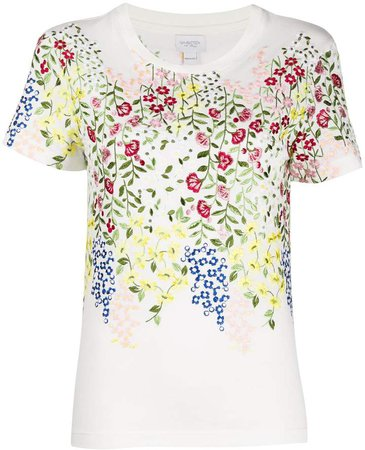 floral-embroidered T-shirt