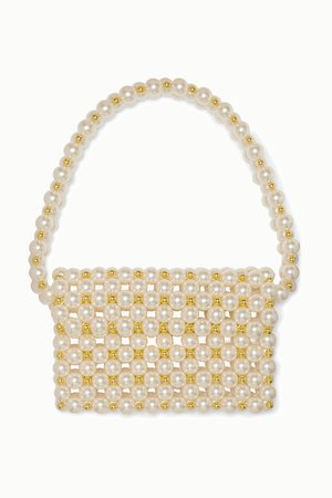 Cream Reveries faux pearl and gold-tone beaded shoulder bag | Vanina | NET-A-PORTER