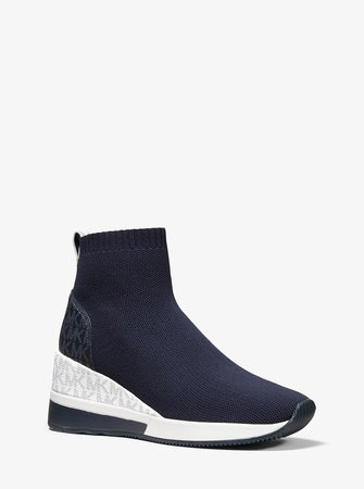 Skyler Stretch Knit and Two-Tone Logo Sock Sneaker