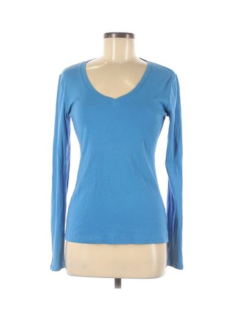 J.Crew 100% Cotton Solid Blue Long Sleeve T-Shirt Size M - 69% off | thredUP