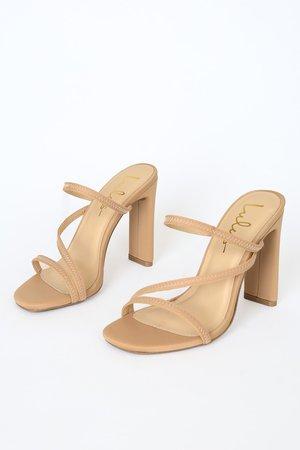 Cute Natural Heels - Peep-Toe Heels - Strappy Beige Heels