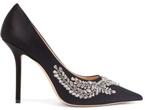 Love Crystal-embellished Satin Pumps - Black