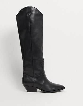 Pull&Bear pull on western knee high boots in black | ASOS