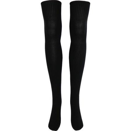 Black Rib Over The Knee Socks in Black - Poppysocks