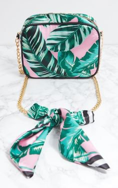PINK PALM LEAF PRINT CHAIN CROSS BODY BAG