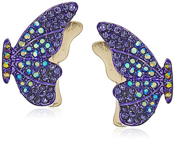 Betsey Johnson Pave Butterfly Stud Earrings, Purple, One Size: Jewelry