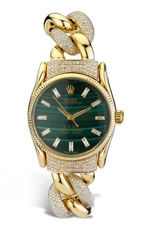 18k Yellow Gold Meteorite Rolex Watch With Emerald Cut Accents By Shay   Moda Operandi