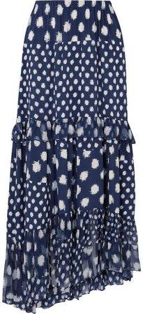 Tiered Ruffled Printed Silk-chiffon Maxi Skirt - Navy