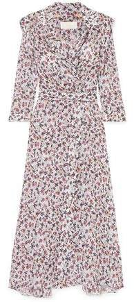 Scalloped Floral-print Georgette Maxi Wrap Dress