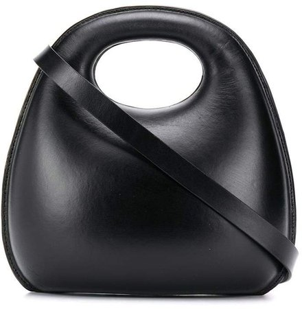 Curved Padded Leather Tote Bag