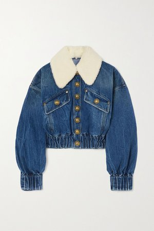 Mid denim Faux shearling-trimmed denim jacket | Balmain | NET-A-PORTER