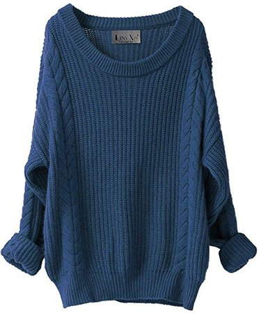 Liny Xin Women's Cashmere Oversized Loose Knitted Crew Neck Long Sleeve Winter Warm Wool Pullover Long Sweater Dresses Tops (Blue) at Amazon Women's Clothing store