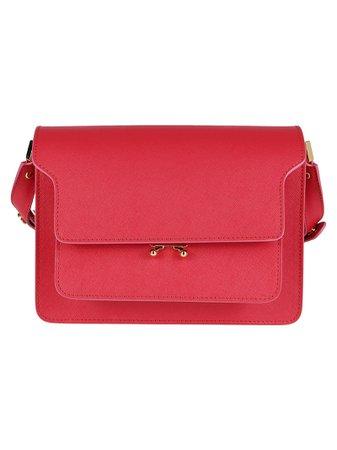 Pink Leather Trunk Shoulder Bag