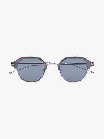 Thom Browne Eyewear silver tone flip-up sunglasses | Browns
