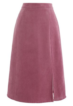 Front Split Corduroy Midi Skirt in Pink - Retro, Indie and Unique Fashion