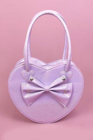 "Lolita Bag ""Big Heart"" in Lavender with Glitter"