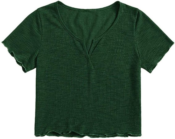 SweatyRocks Women's Solid V Neck Short Sleeve Knit Crop Top Tee Shirts at Amazon Women's Clothing store