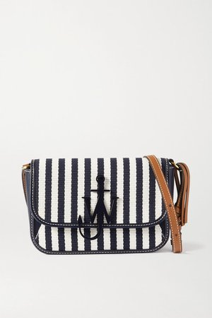 Anchor Nano Striped Canvas And Leather Shoulder Bag - Navy