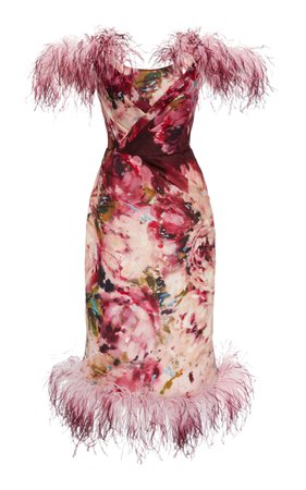 Marchesa Feather-Trimmed Floral-Print Silk Dress