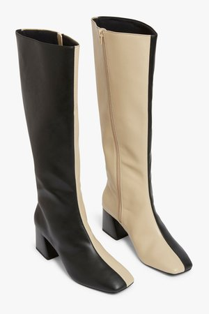 Knee-high faux leather boots - Beige and black - Boots - Monki