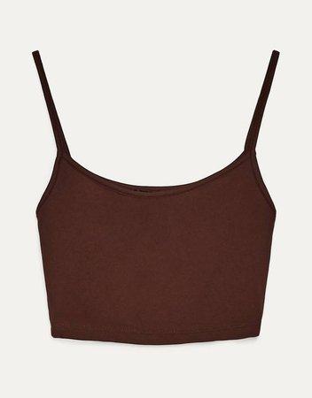 Cropped vest top - Tops - Woman   Bershka