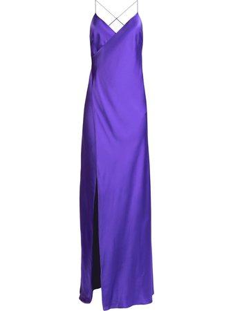 Shop purple Michelle Mason silk front-slit maxi gown with Afterpay - Farfetch Australia