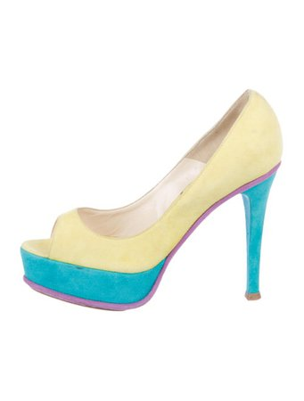 Brian Atwood Suede Colorblock Pumps - Shoes - BRI26454 | The RealReal