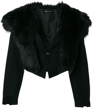Pre-Owned faux-fur collar cropped jacket