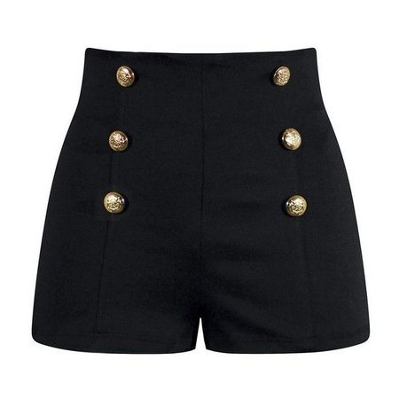 Dark Navy Blue High-Waisted Shorts