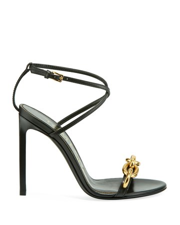 TOM FORD Leather Sandals with Chain Trim | Neiman Marcus