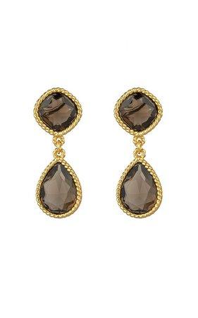 Candi 24K Gold-Plated Smoky Quartz Earrings by VALÉRE | Moda Operandi