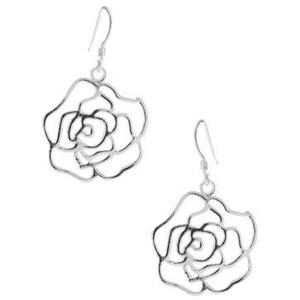 Sterling Silver Rose Earrings PNG