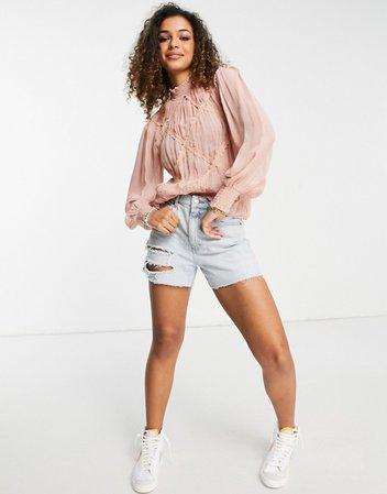 Topshop frill detail blouse in blush | ASOS