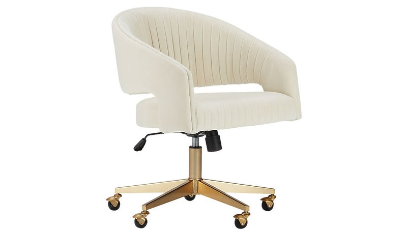 C2B - channel ivory velvet office chair