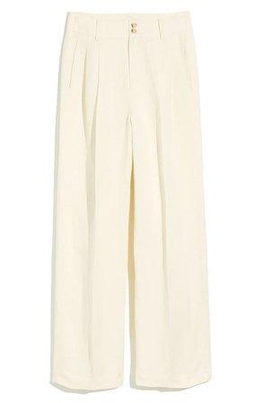 Madewell Pleated Wide Leg Pants ivory