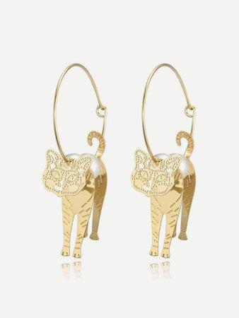 Cat Detail Hoop Earrings
