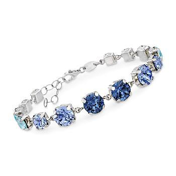 """Ross-Simons - Italian Sterling Silver Bracelet With Tonal Blue and Clear Swarovski Crystals. 6.5"""" - #897821"""