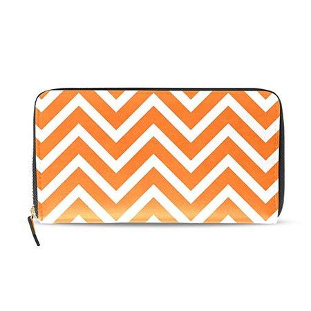 Sunlome Orange White Color Chevron Stripe Print PU Leather Long Wallets Zipper Clutch Ladies Purse Wallet for Women Girl at Amazon Women's Clothing store: