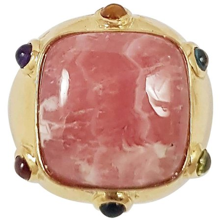 Rhodochrosite with Cabochon Rainbow Color Gem Ring Set in 18 Karat Gold Setting For Sale at 1stDibs