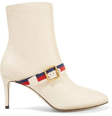 Grosgrain-trimmed Leather Ankle Boots - Off-white