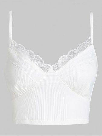 [46% OFF] [HOT] 2020 ZAFUL Lace Panel Ribbed Crop Cami Top In WHITE | ZAFUL