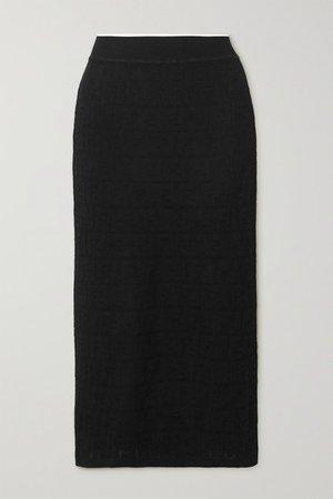 Cotton-blend Jacquard Midi Skirt - Black