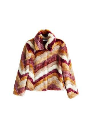 MANGO Multicolor faux fur coat