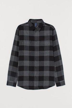 Cotton Flannel Shirt - Dark gray/black - Men | H&M US