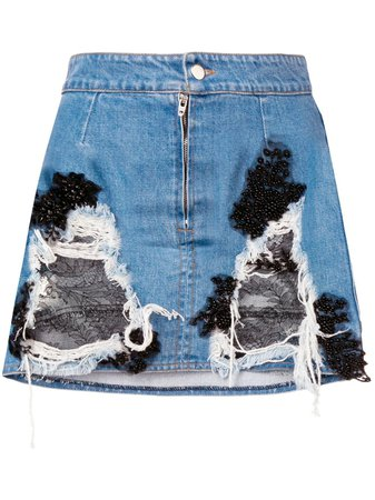 Almaz denim and lace mini skirt £484 - Shop Online - Fast Global Shipping, Price